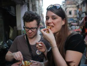 Eating street food in India