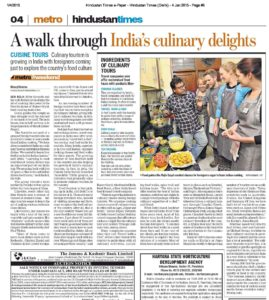 Hindustan Times . - 4 Jan 2015 - Page #6 foreigners have always been intrigued by the statr's rich culture and heritage, Mike Sorsyth and his wife Rachel are learning the art of cooking 'aloo jeera' at the Dwarka house of Rajeev Goyal, their cooking instructor. Goyal guides the couple as they struggle with the amount of turmeric to be used. The next lesson, due in half an hour, is in the preparation of bhindi (ladies' finger). - India Food Tour