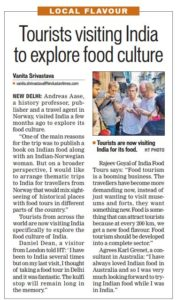 Hindustan times India food tour. Tourists visiting India to explore food culture